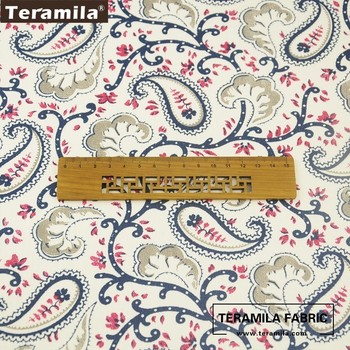 Teramila Fabrics Cotton Tissue Royal Court Dark Blue Patterns Bedding Decoration Home Textile DIY Dress Curtains Pillows